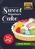 La torta de la tarjeta del día de San Valentín dulce imagen de archivo