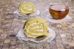 Rollos de la torta de Matcha Imagen de archivo libre de regalías