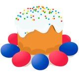 La torta de Pascua, los huevos y las ramitas del sauce pintaron la acuarela Dibujo vectorizado de la acuarela Imágenes de archivo libres de regalías