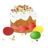La torta de Pascua, los huevos y las ramitas del sauce pintaron la acuarela Dibujo vectorizado de la acuarela Fotos de archivo libres de regalías