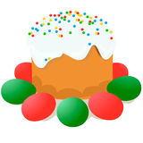 La torta de Pascua, los huevos y las ramitas del sauce pintaron la acuarela Dibujo vectorizado de la acuarela foto de archivo