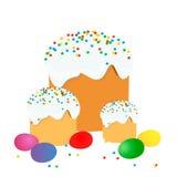 La torta de Pascua, los huevos y las ramitas del sauce pintaron la acuarela Dibujo vectorizado de la acuarela foto de archivo libre de regalías