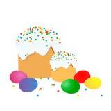 La torta de Pascua, los huevos y las ramitas del sauce pintaron la acuarela Dibujo vectorizado de la acuarela imagen de archivo libre de regalías