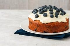 La torta del arándano de la crema agria sirvió en una placa en un CCB blanco de la piedra Imágenes de archivo libres de regalías