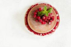 La torta del mousse de chocolate con las frutas del lingonberry y la menta copian el spac Fotografía de archivo