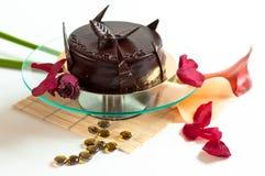 La torta di cioccolato ha isolato decorato Immagine Stock