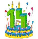 La torta di compleanno con il numero quattordici esamina in controluce, celebrando il quattordicesimo anno di vita, i palloni var illustrazione di stock