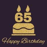La torta di compleanno con le candele sotto forma di icona di numero 65 simbolo di compleanno Scintille e scintillio dell'oro Fotografia Stock
