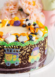 La torta di compleanno del bambino Fotografie Stock Libere da Diritti
