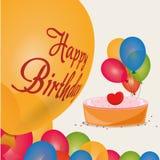 la torta di compleanno felice colorata balloons la celebrazione Fotografia Stock Libera da Diritti