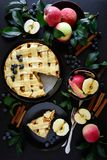 La torta di mele americana di tradizione con le mele, il mirtillo e la cannella ha decorato le foglie della mela fotografie stock