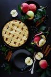 La torta di mele americana di tradizione con le mele, il mirtillo e la cannella ha decorato le foglie della mela su fondo di legn fotografie stock libere da diritti