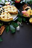 La torta di mele americana di tradizione con le mele, il mirtillo e la cannella ha decorato le foglie della mela su fondo di legn fotografia stock libera da diritti