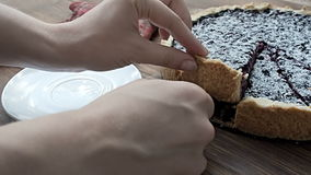 La torta di mirtillo spruzza con lo zucchero in polvere, sulla tavola di legno video d archivio