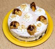 La torta en la placa Imagen de archivo libre de regalías