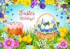 La torta pascual de Pascua, huevos, florece el saludo del vector stock de ilustración