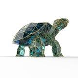 La tortue en cristal de luxe brillante de Galapagos de saphir avec des bords a encadré le fil d'or, d'isolement Photo stock