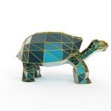 La tortue en cristal de luxe brillante de Galapagos de saphir avec des bords a encadré le fil d'or, d'isolement Photos libres de droits