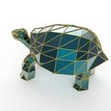 La tortue en cristal de luxe brillante de Galapagos de saphir avec des bords a encadré le fil d'or, d'isolement Images libres de droits