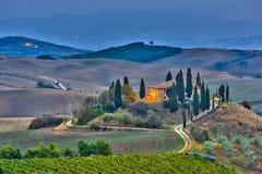 La Toscana al crepuscolo Immagini Stock