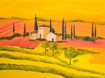 La Toscana in arancio Fotografia Stock Libera da Diritti