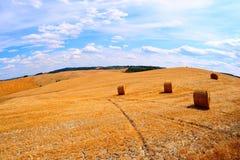 La Toscana con le balle di fieno immagine stock libera da diritti