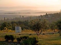 La Toscana nella foschia Fotografia Stock