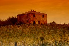 La Toscana in sera Fotografie Stock Libere da Diritti