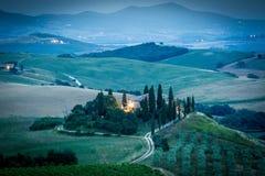 La Toscane après coucher du soleil, Italie Images stock