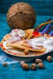 La tostada cocida manchó el helado en atasco de frambuesa Foto de archivo