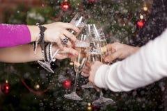 La tostada del Año Nuevo de la Navidad Imagenes de archivo