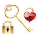 La touche fonctions étendues avec le diamant et l'or a fermé la serrure illustration libre de droits