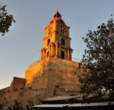 La tour d'horloge au soleil au coucher du soleil, Rhodes Photo libre de droits