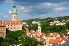La tour de château ?eský Krumlov République Tchèque Images libres de droits