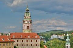 La tour de château ?eský Krumlov République Tchèque Image libre de droits