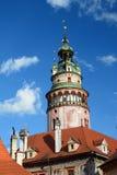 La tour de château ?eský Krumlov République Tchèque Photo stock