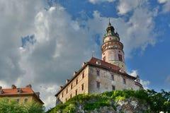 La tour de château ?eský Krumlov République Tchèque Photographie stock