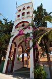 La tour de cloche du monastère de Panagia Kalyviani sur l'île de Crète, Grèce Images libres de droits