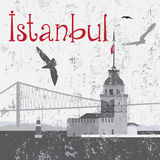 La tour de la jeune fille et le pont de Bosphorus Image libre de droits