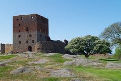 La tour du château de Hammershus Photos stock