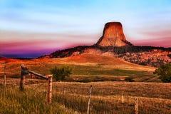 La tour du diable au lever de soleil Image libre de droits