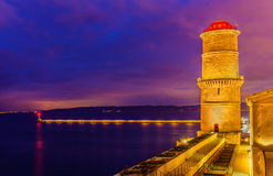 La tour du fanal and Digue Sainte Marie in Marseille. France Royalty Free Stock Images