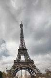 La Tour Eiffel. Wide angle view from street level in winter Stock Image