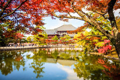 La tour en bois du temple d'À-JI en Nara Japan est le plus grand te Photos stock