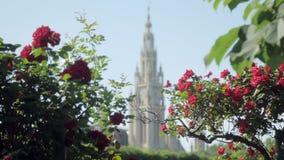 La tour gothique de style de l'hôtel de ville à Vienne, Autriche, vue par des arbustes de roses, foyer se déplace clips vidéos