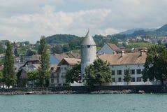 La Tour Peiliz. From the ferry on Lake Geneva stock photo
