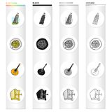 La tour penchée de Pise, pâtes italiennes, mandoline, un attribut de catholicisme Icônes réglées de collection de l'Italie dans l illustration de vecteur