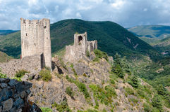 La Tour Regine and Cabaret towers on great mountains landscape a Royalty Free Stock Photo
