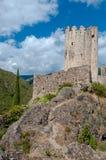 La Tour Regine on stone mountain at Lastours stock photography