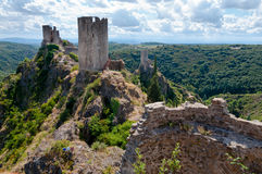 La Tour Regine Surdespine and Quertinheux towers at Lastours. In France Royalty Free Stock Images